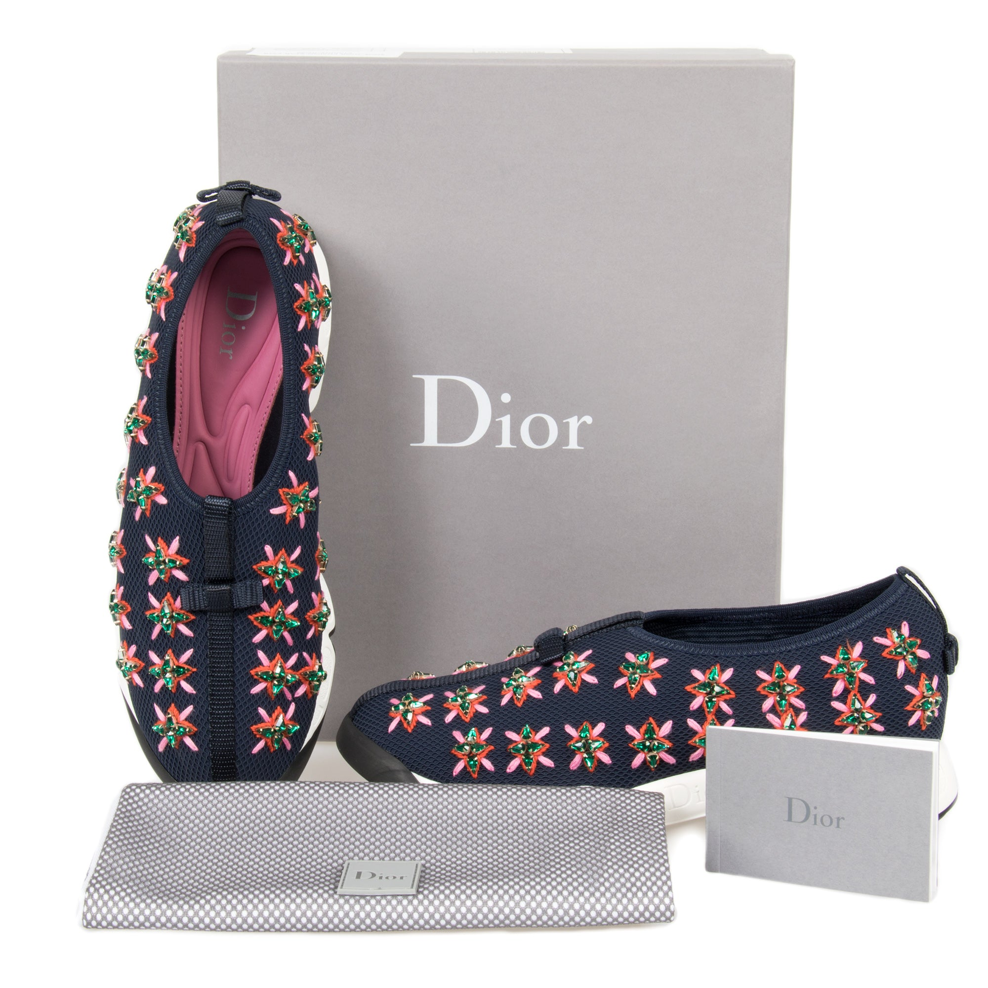 Christian Dior Blue and Rose Flower Fusion Sneakers