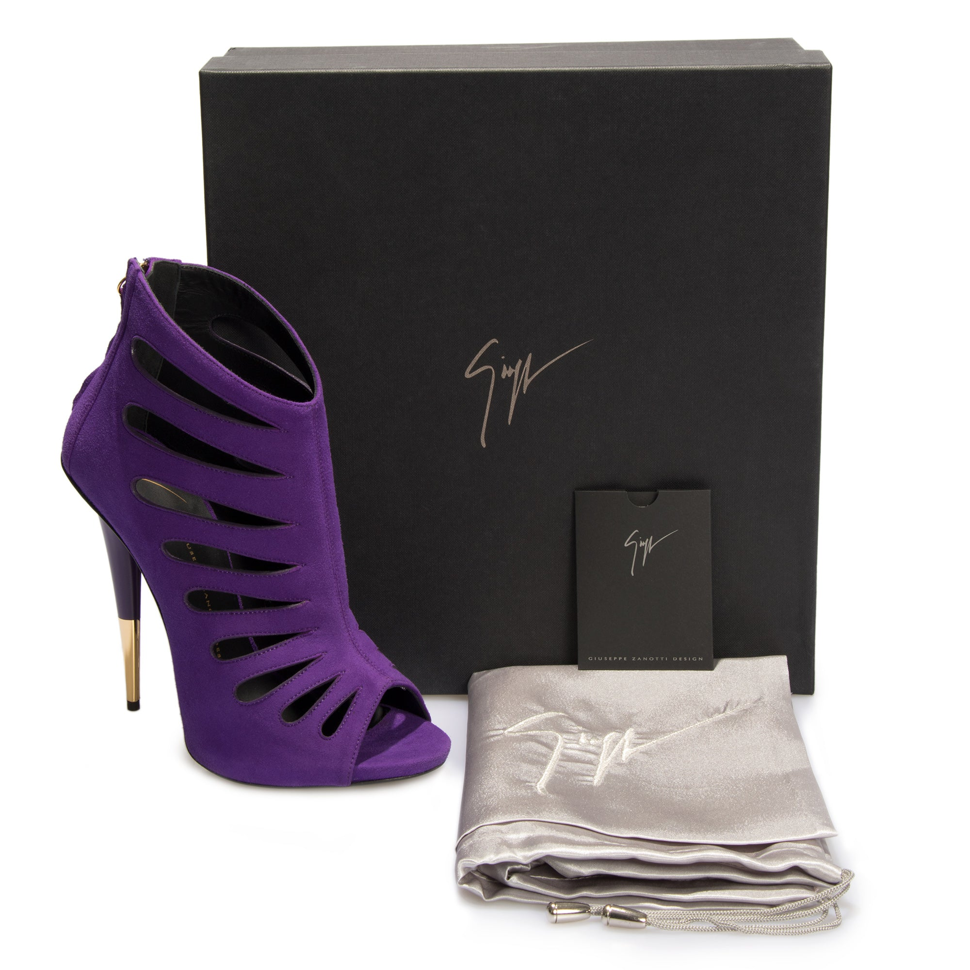 Giuseppe Zanotti Alien Violet Cutout Suede 127mm Ankle Boots