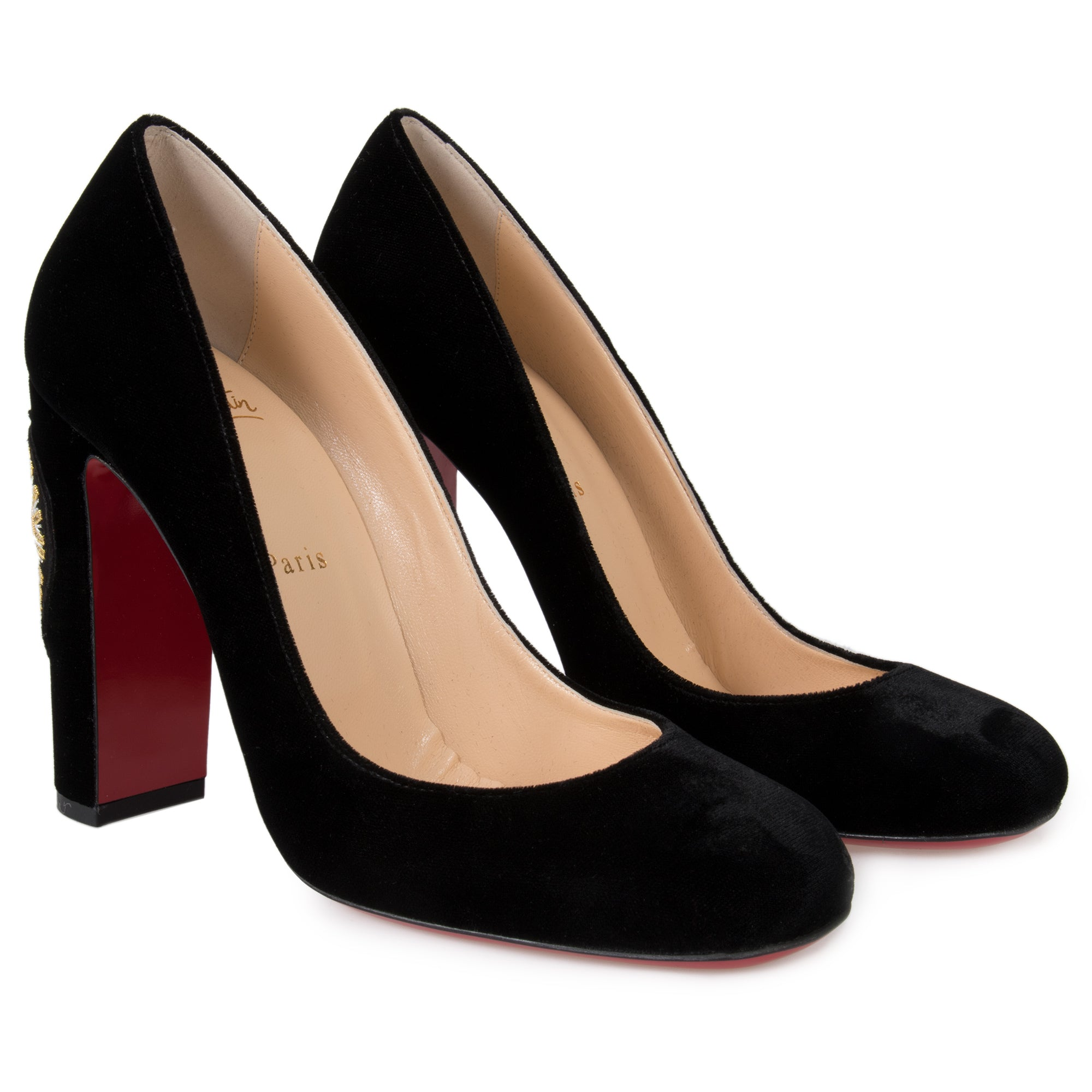 Christian Louboutin Cadrilla Black Velvet 100mm Pumps