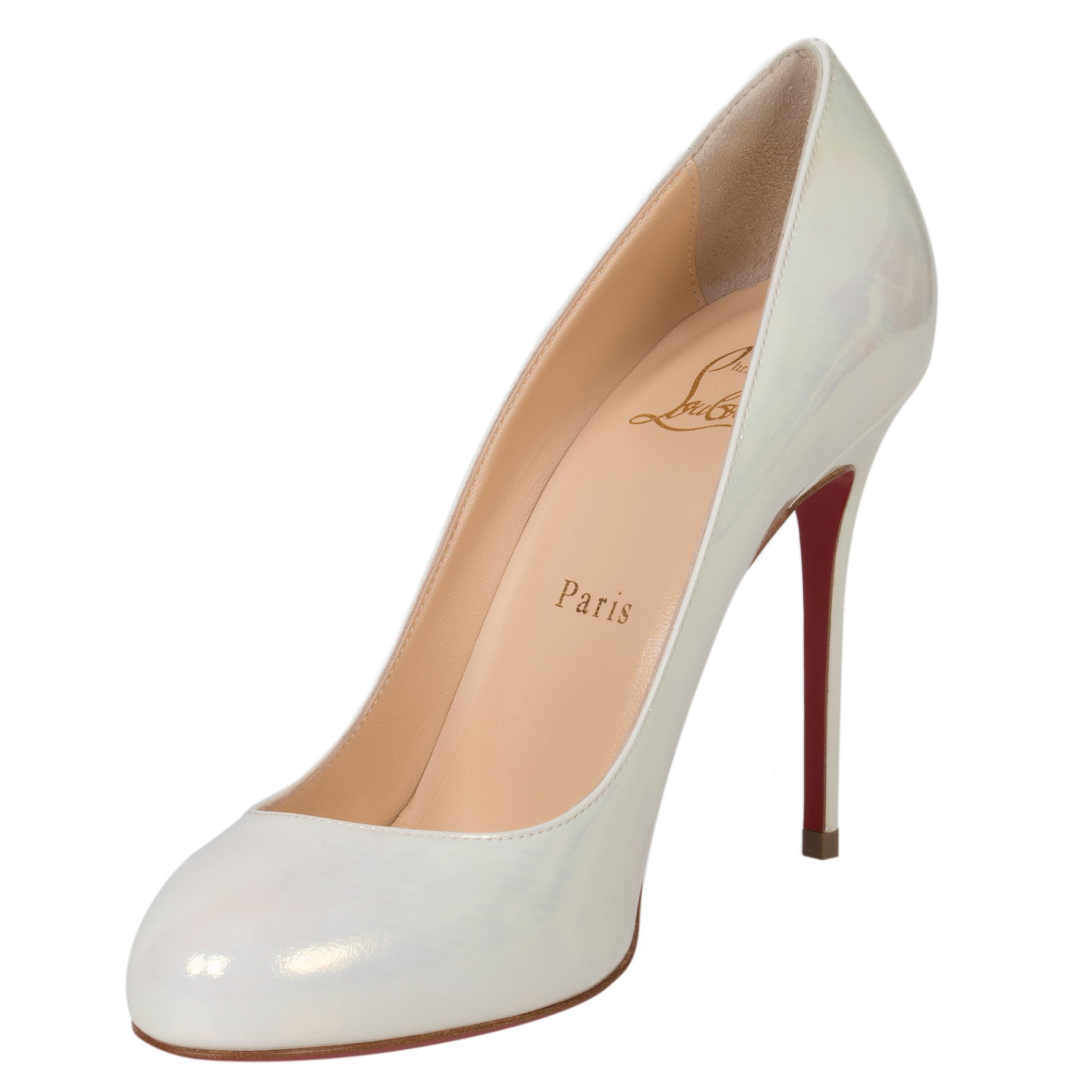 Christian Louboutin Fifi Iridescent Pearl White Patent Leather 100mm Pumps
