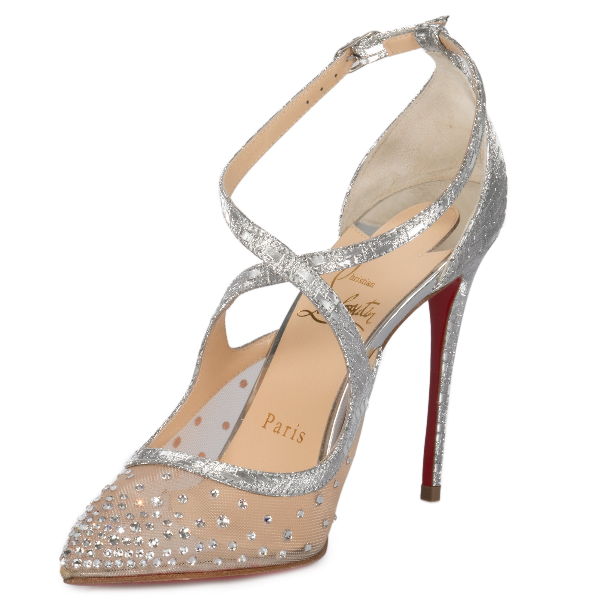 381517afe180 Christian Louboutin Twistissima Silver Strass Ankle-Strap 100mm Pumps