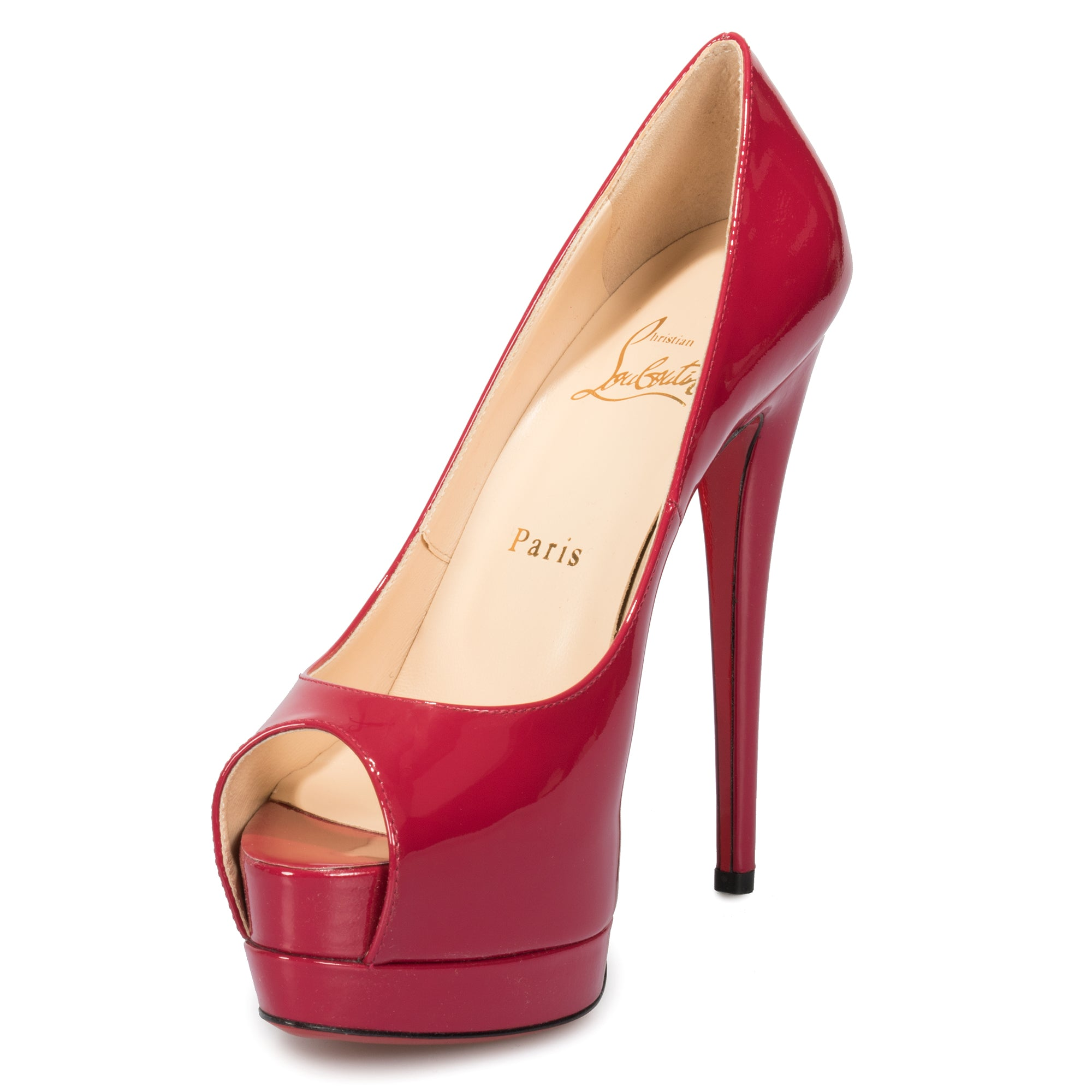 Christian Louboutin Palais Royal Red Bisou Patent Leather 120mm Platform Pump