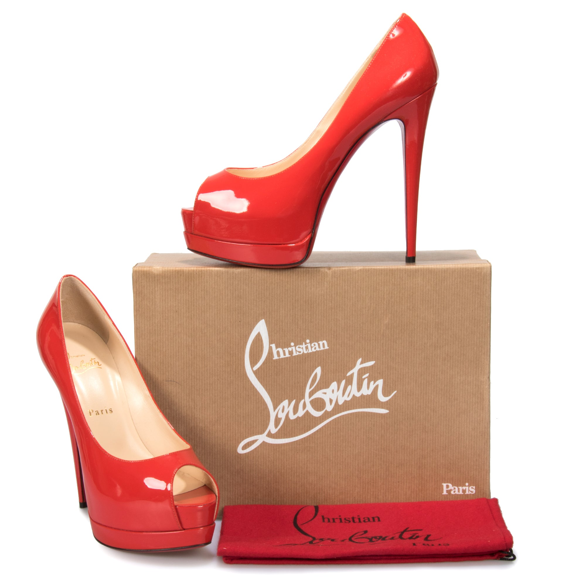 Christian Louboutin Palais Royal Flamenco Patent Leather 120mm Platform Pump