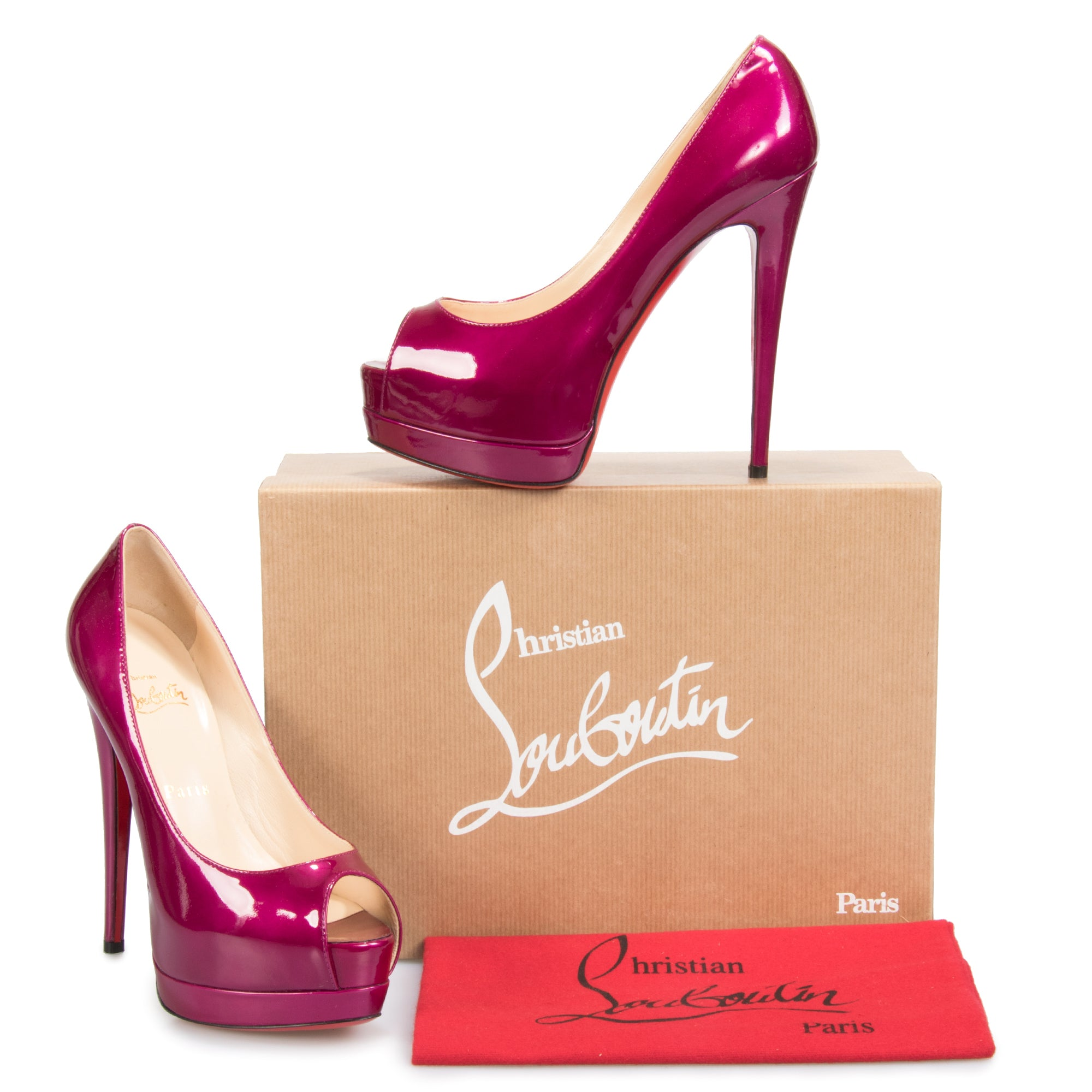 Christian Louboutin Palais Royal Magenta Patent Leather 120mm Platform Pump