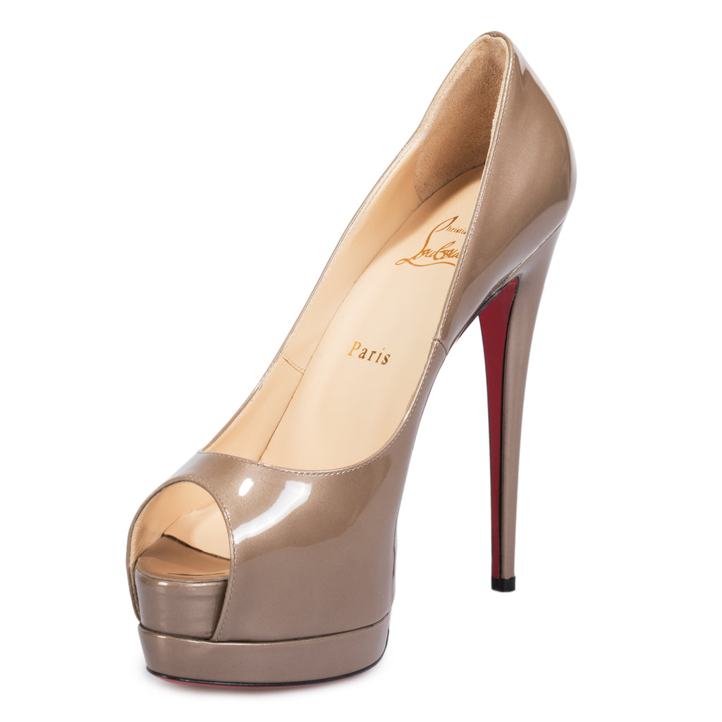 Christian Louboutin Palais Royal Storm Gray Patent Leather 120mm Platform Pump