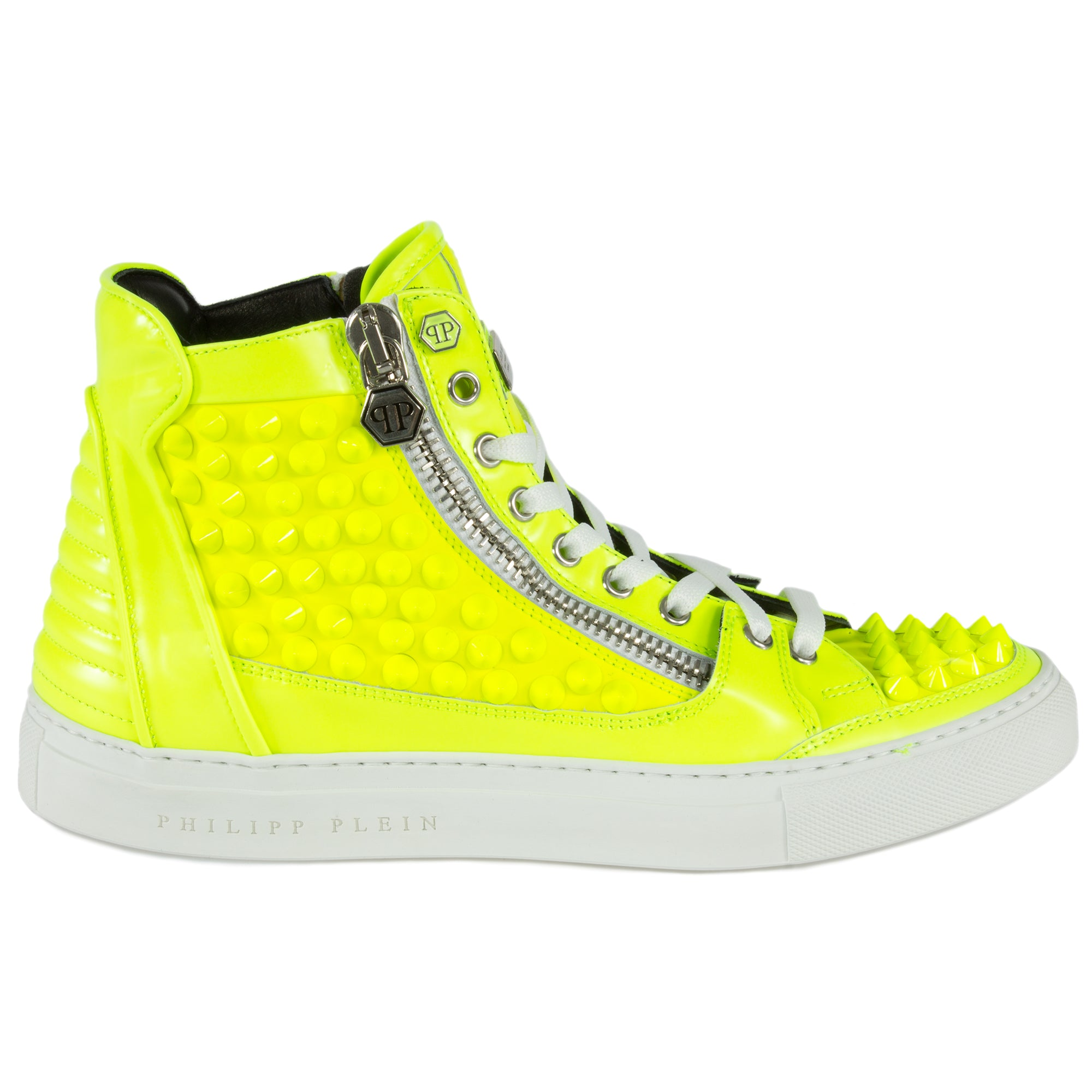 Philipp Plein Clever Hi-Top Sneakers | Yellow Leather
