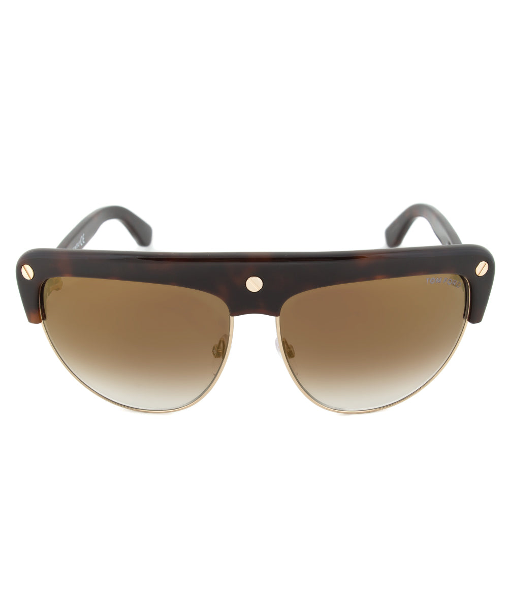 Tom Ford FT0318 Liane Shield Sunglasses | Brown Gradient Lens