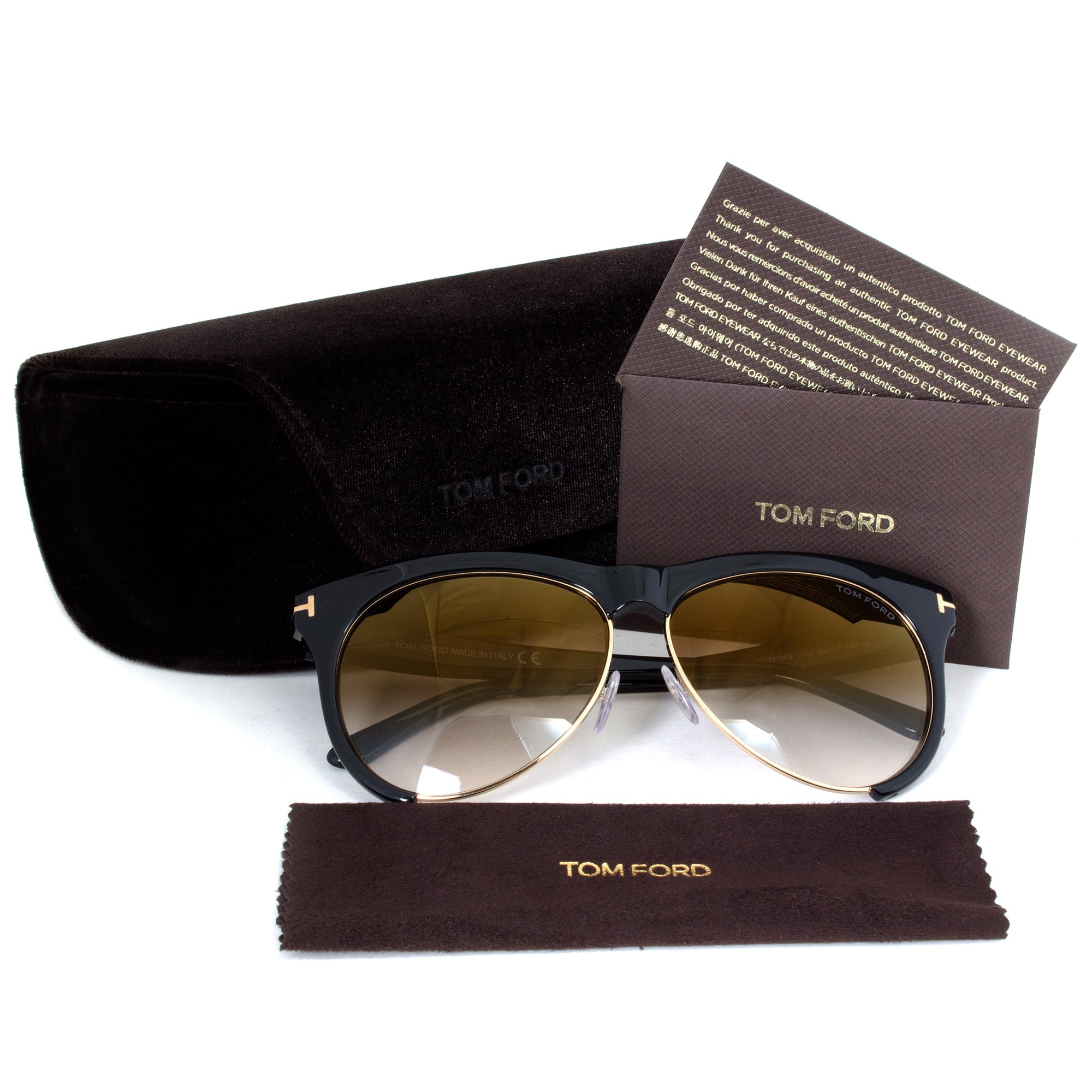 Tom Ford Leona Sunglasses FT0365 | Black/Gold Frame | Brown Gradient Lens