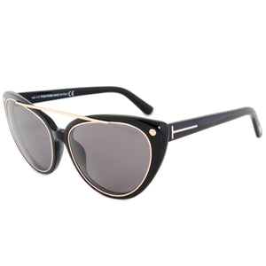 Tom Ford Edita Sunglasses FT0384 | Black/Gold Frame | Grey Lens