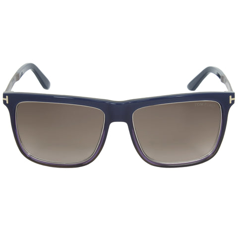 Tom Ford Karlie Unisex Square Sunglasses FT0392 F 92J 57 | Dark Blue Frame | Smoke Gradient Lens