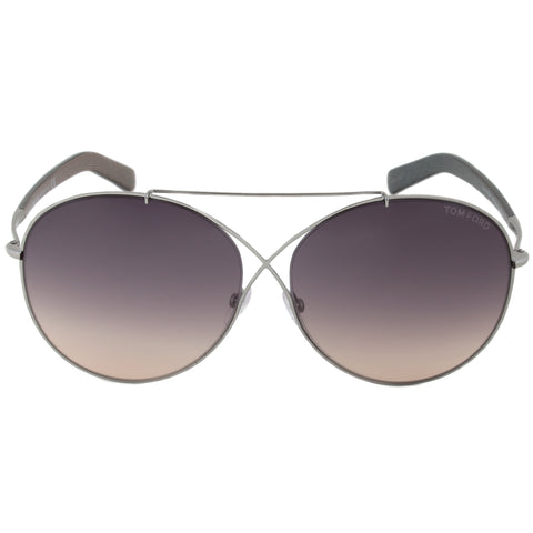 Tom Ford Iva Sunglasses FT0394 15B | Gunmetal/Brown Frame | Grey Gradient Lens