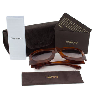Tom Ford FT0403 Mila Square Sunglasses | Havana Frame | Grey Gradient Lens