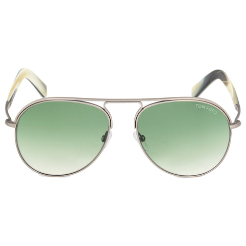 Tom Ford Cody Pilot Sunglasses FT0448 14P 56 | Silver Frames | Green Gradient Lenses