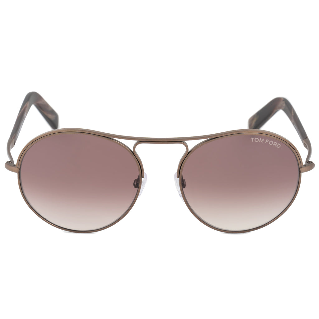 Tom Ford Jessie Women's Round Sunglasses FT0449 49T 54 | Matte Antique Brown Frame | Burgundy Gradient Lens