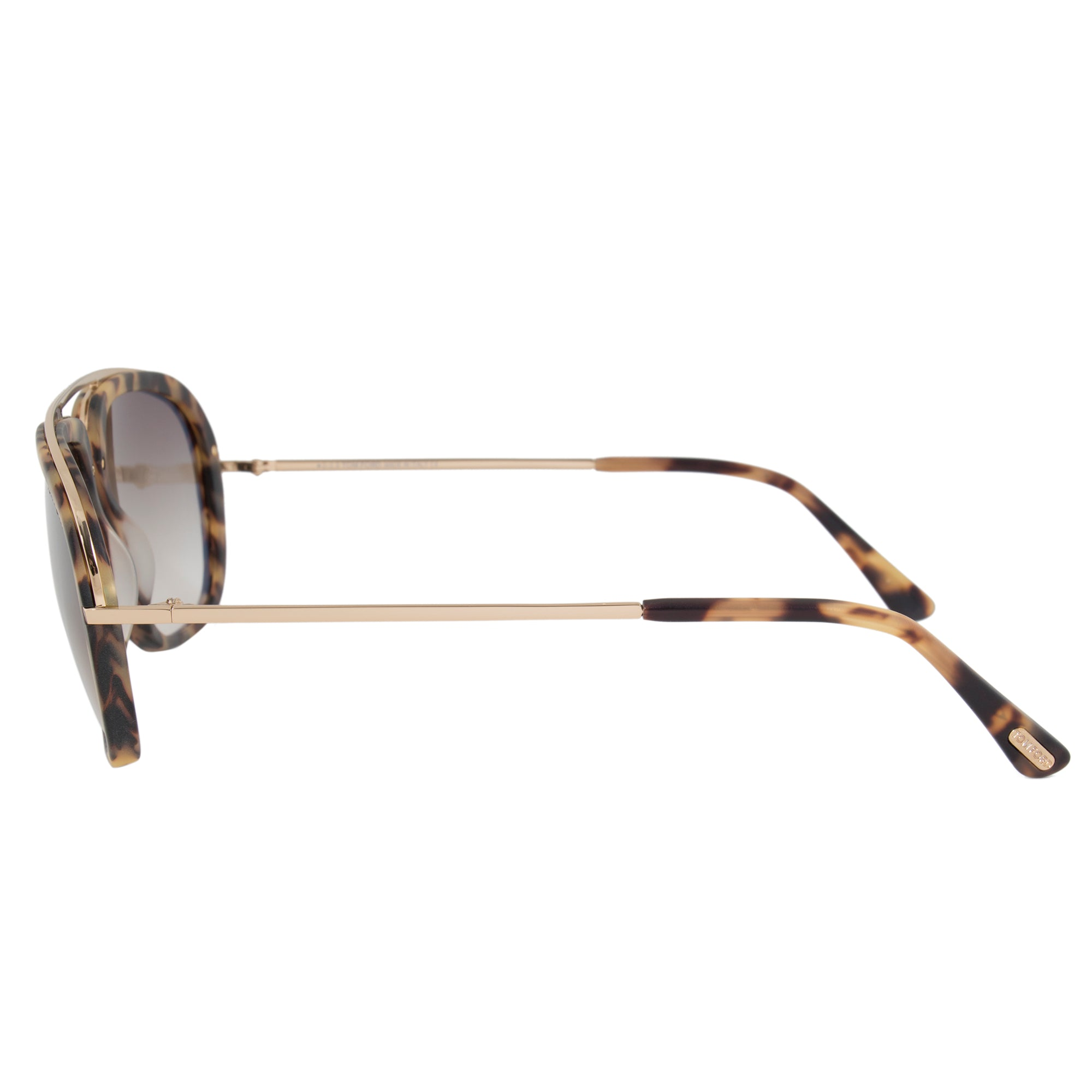 Tom Ford Johnson Men's Navigator Sunglasses FT0453 53F 57 | Matte Tortoise and Rose Gold Frame | Brown Gradient Lens