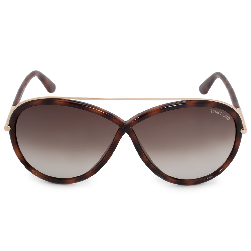 Tom Ford Tamara Oval Sunglasses FT0454 | Havana Frame | Grey Gradient Lenses