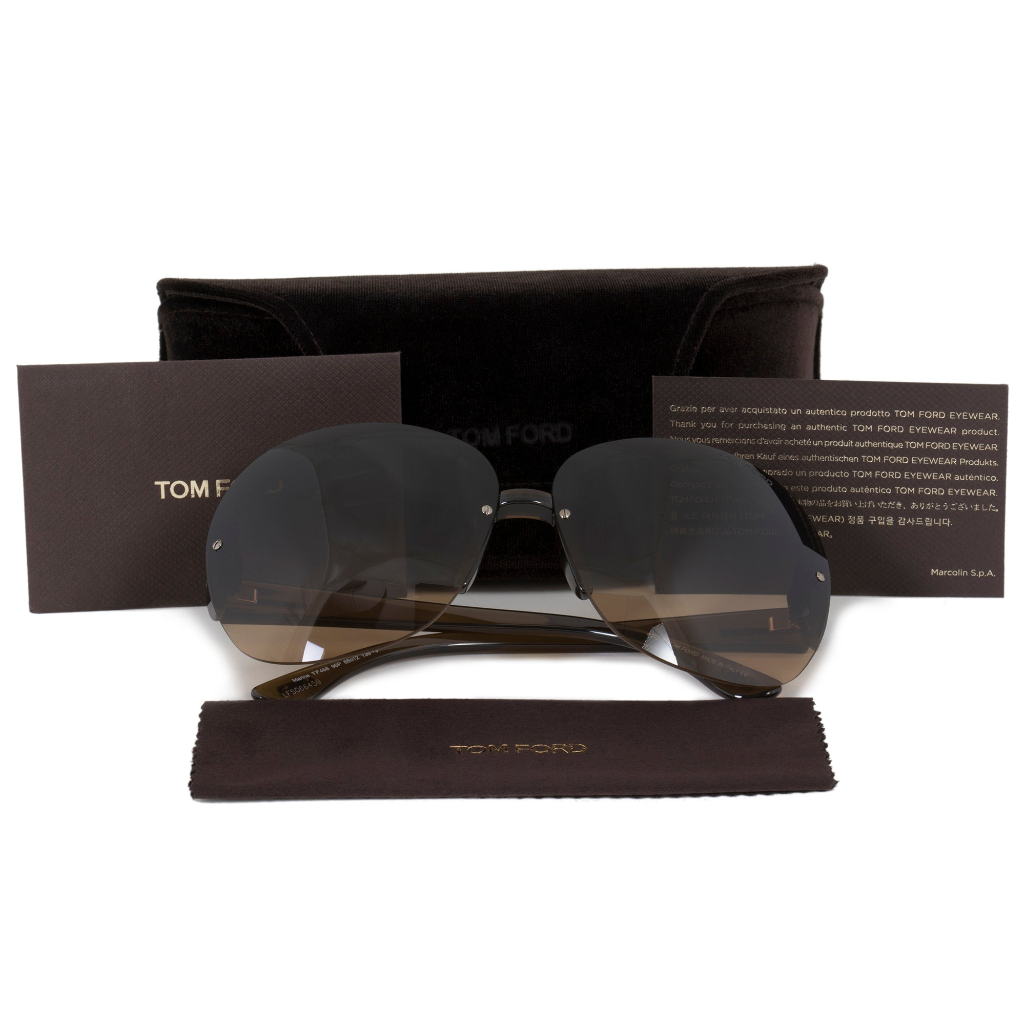 Tom Ford Marine Women's Oversized Round Sunglasses FT0458 | Brown Gradient Lens