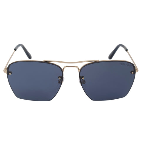 Tom Ford Walker Square Sunglasses FT0504 28V 57 | Gold Frame | Blue Lenses