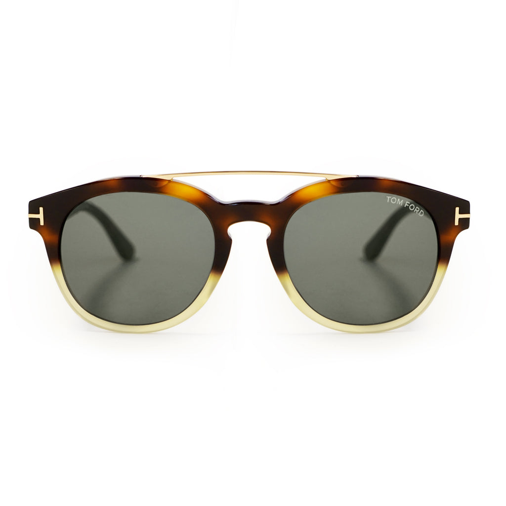 Tom Ford Newman Round Sunglasses FT0515 55E 53 | Brown Green Havana Acetate | Green Lenses