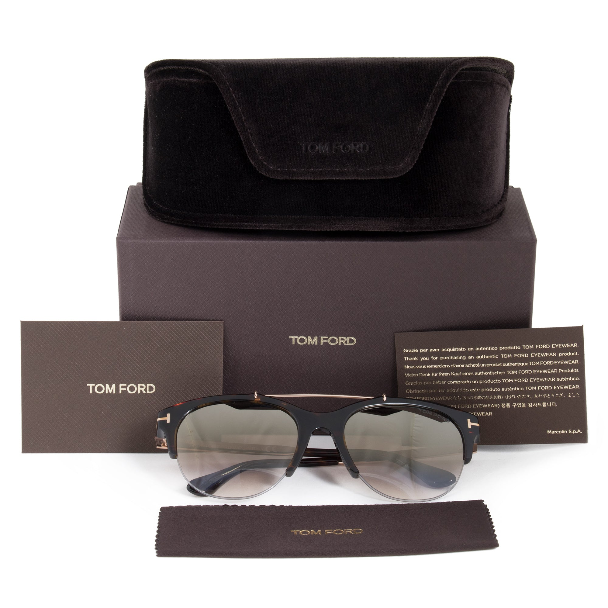Tom Ford Adrenne FT0517 52G 55 Semi-Rimless Sunglasses
