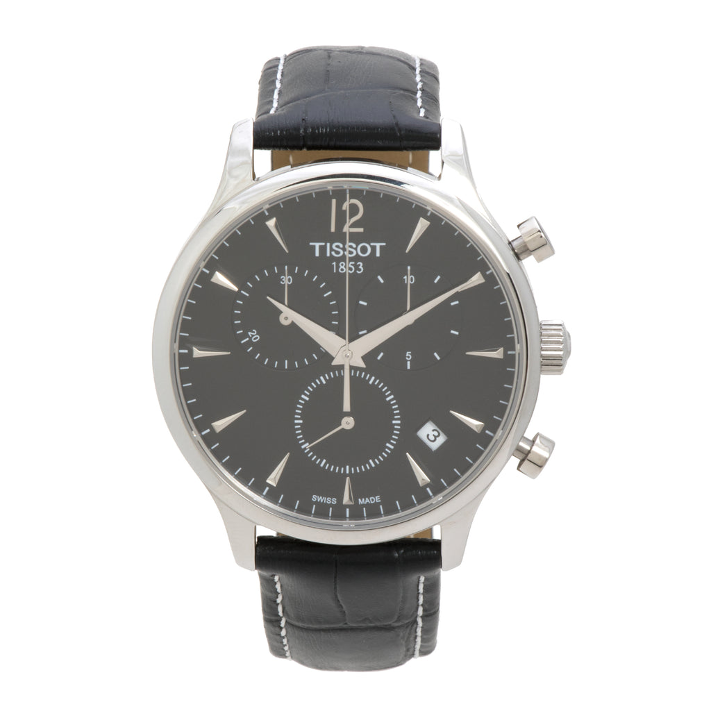 Tissot Tradition Chronograph Stainless Steel Black Dial Men's Watch