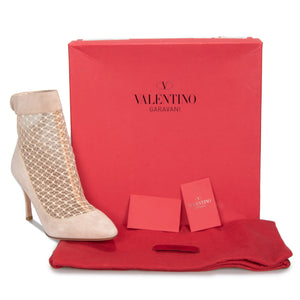 Valentino Lace Ankle Booties in Powder Suede