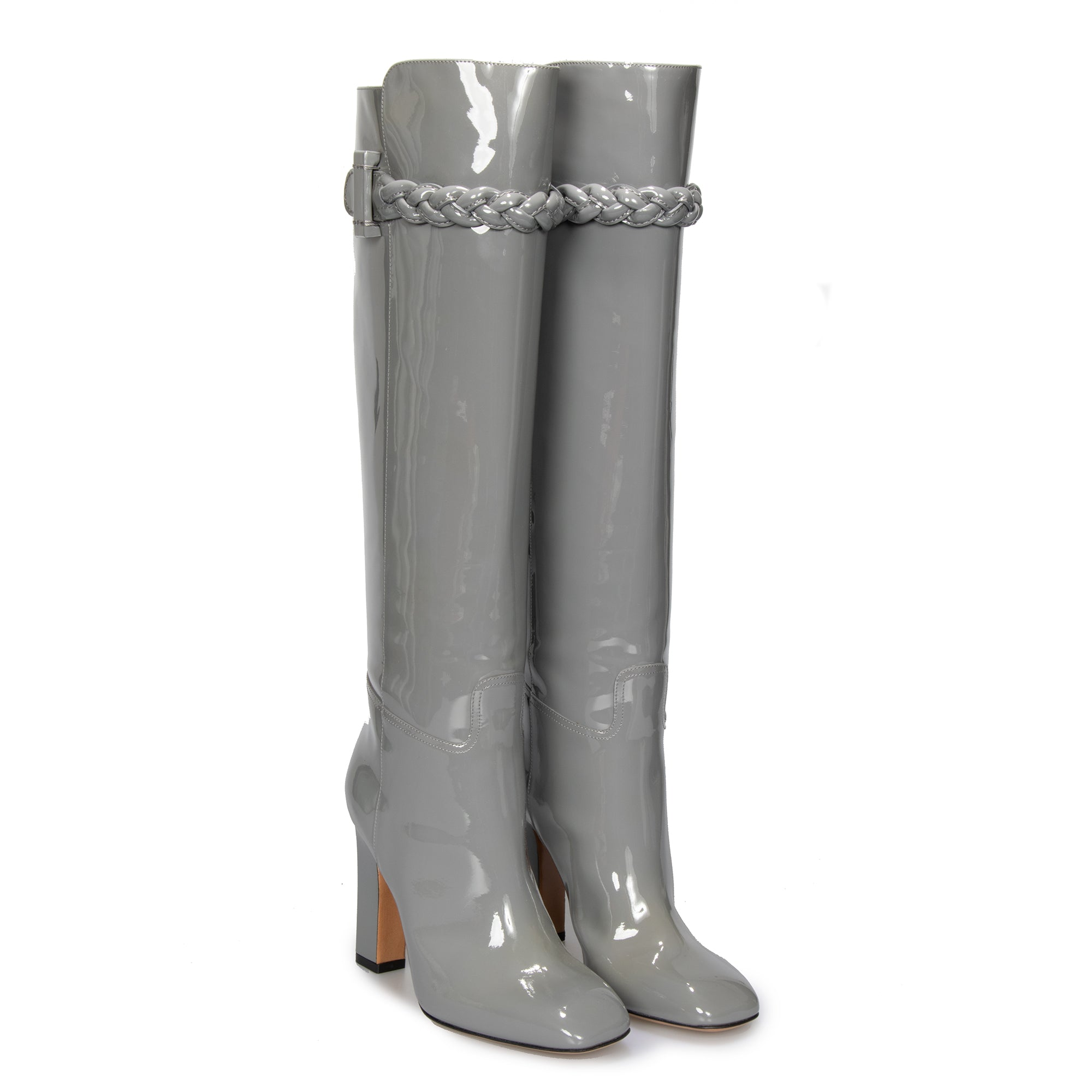 Valentino Knee High Patent Leather Boots in Gray
