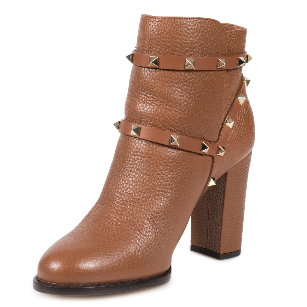 Valentino Brown Grained Calfskin Leather Rockstud Booties