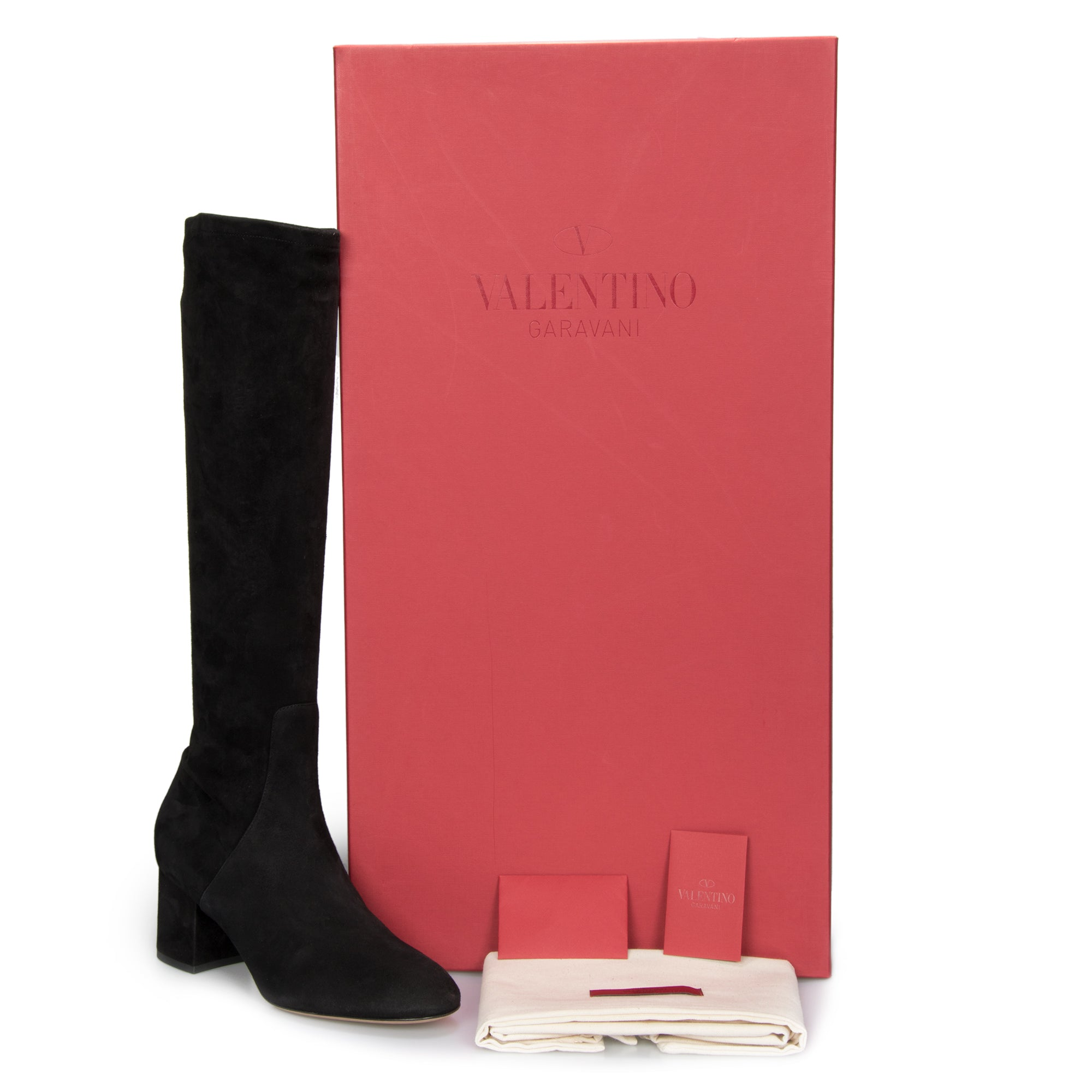 Valentino Knee-High Suede Boots in Black