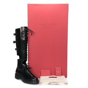 Valentino Rockstud Knee-High Cutout Boots in Black