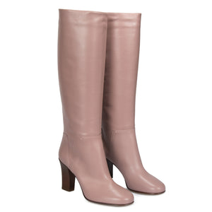 Valentino Knee-High Lovestud Boots in Pink
