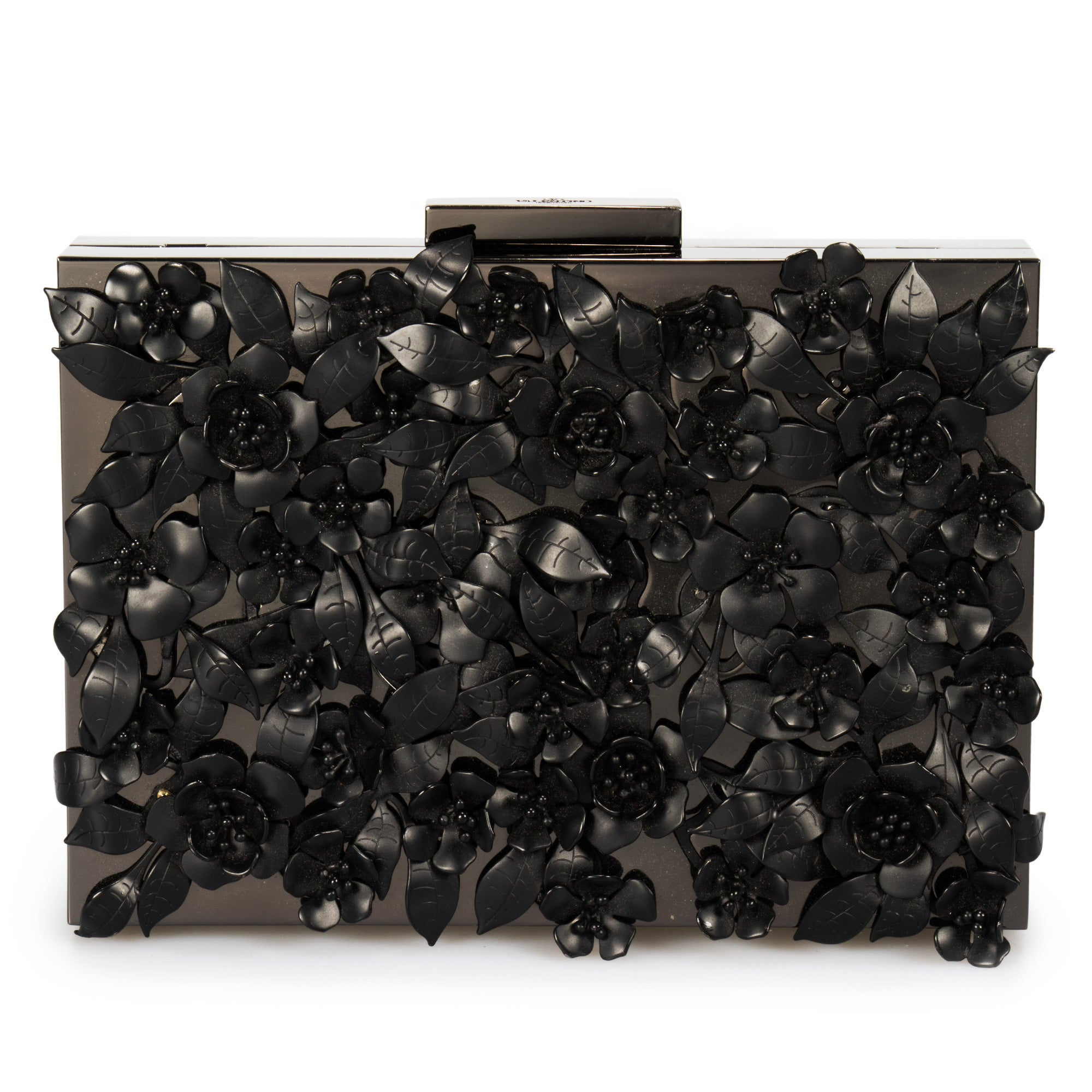 Valentino Appliqué Flowers Minaudiere in Black Metal