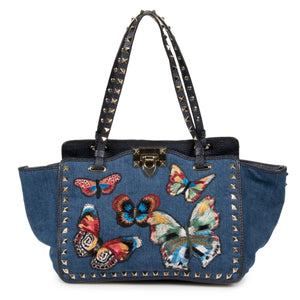 Valentino Small Rockstud Jamaican Butterflies Trapeze Tote