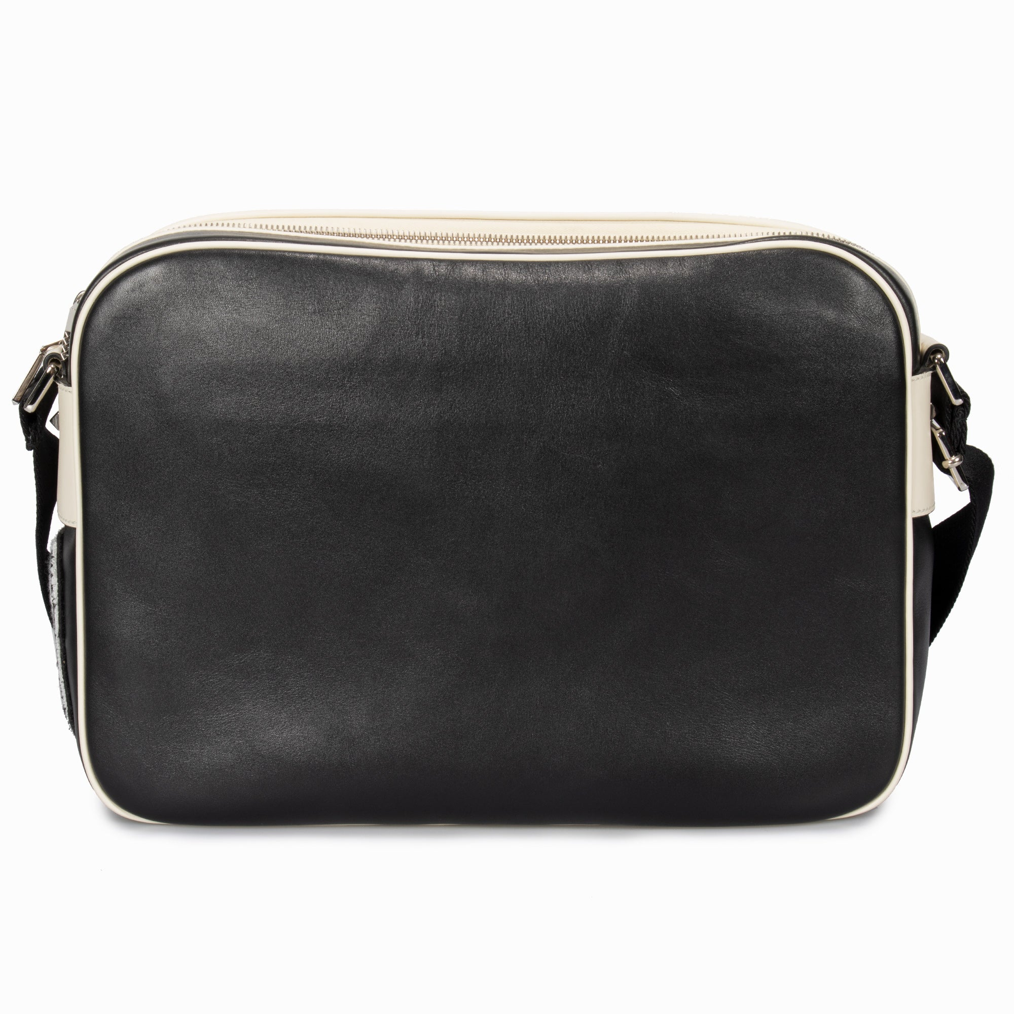 Valentino Black Leather Messenger Bag with Logo Applique
