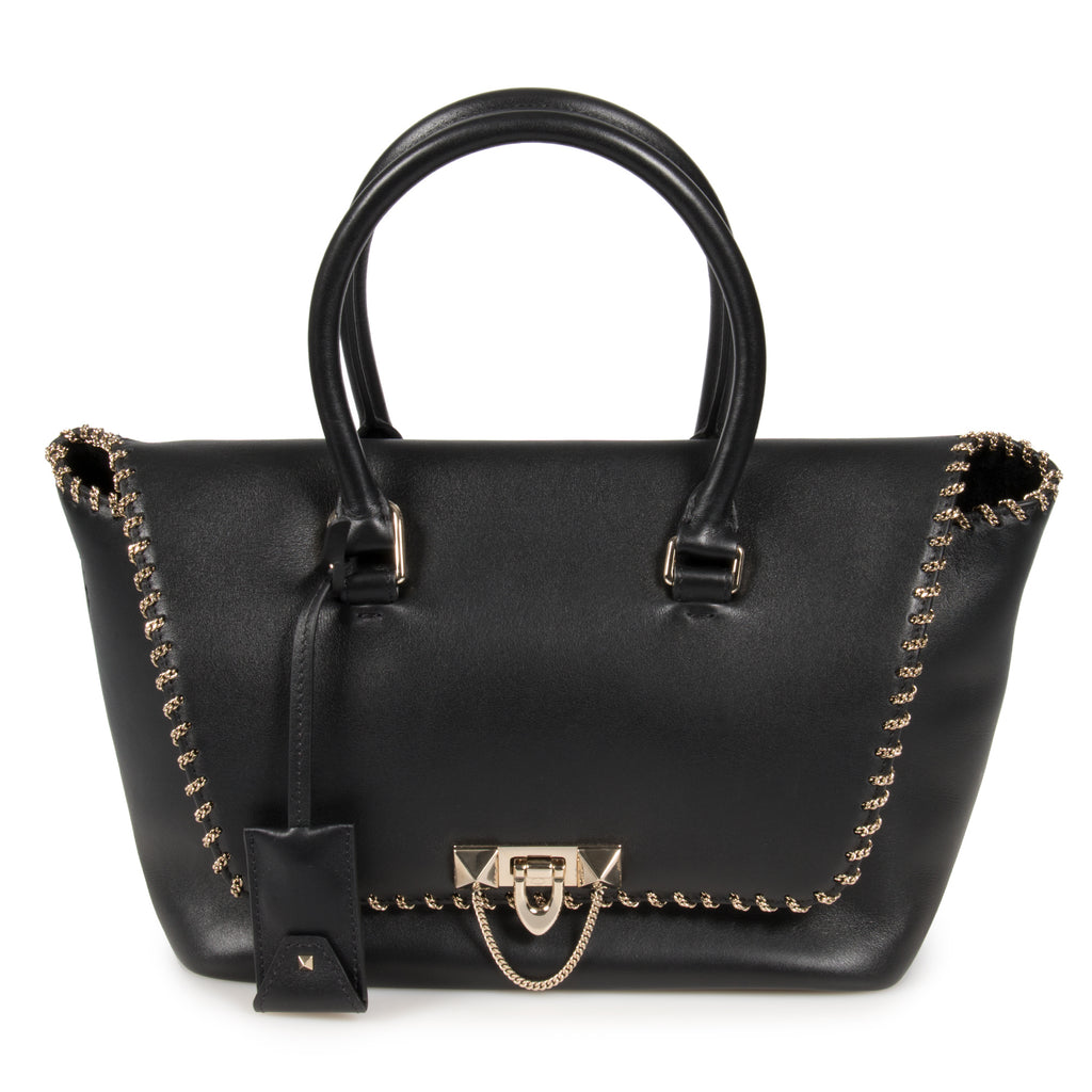 Valentino Small Chained Demilune Double Handle Bag in Black