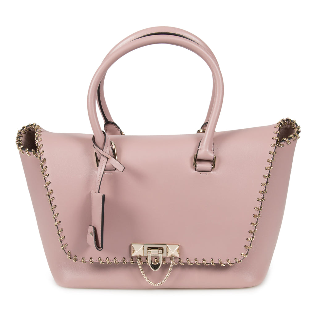 Valentino Small Chained Demilune Double Handle Bag in Lipstick Pink