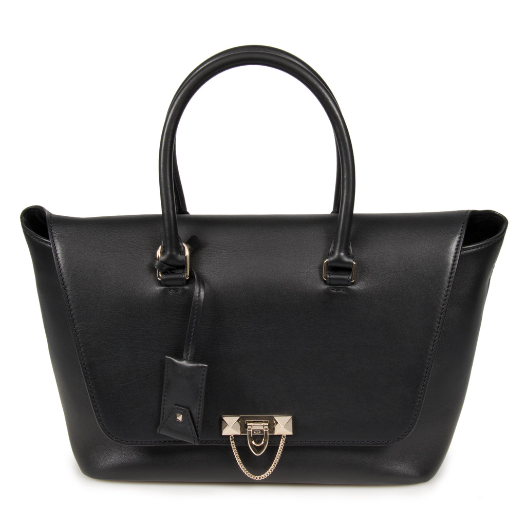 Valentino Large Demilune Double Handle Bag in Black