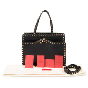 Valentino Valentino Rockstud Tote in Black Leather