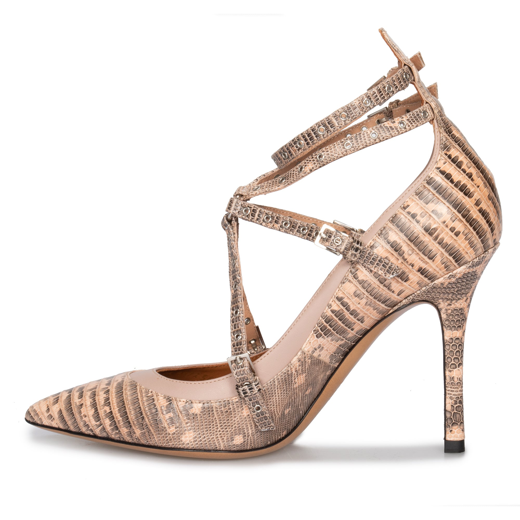 Valentino Love Latch Lizard Leather Pumps