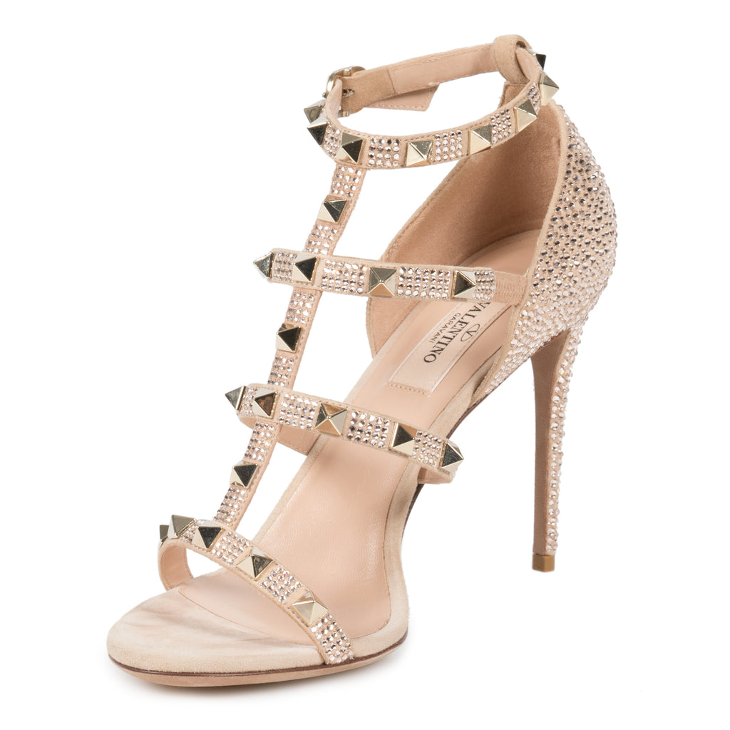 Valentino Metallic Pink Rockstud Sandals with Crystals