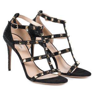 Valentino Jet Black Rockstud Sandals with Crystals