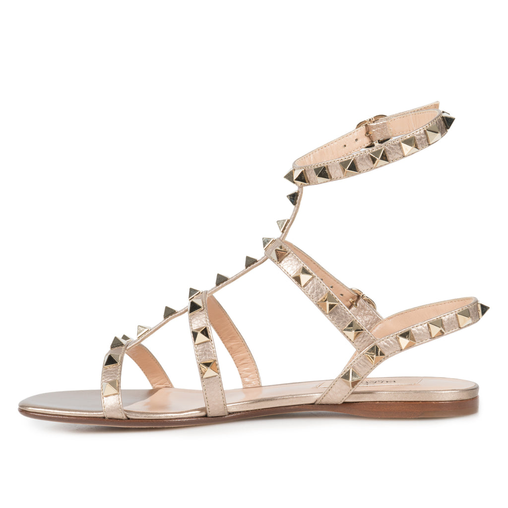 Valentino Rockstud Caged Flat Sandals in Metallic Elk-Print