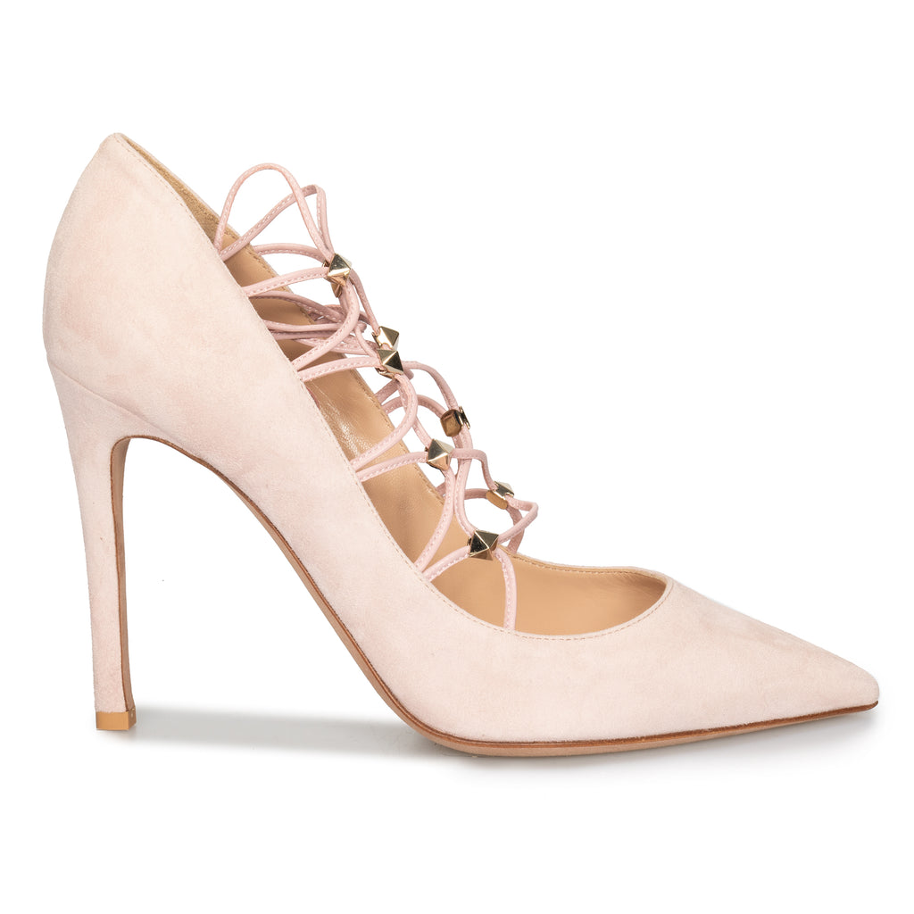 Valentino Lace Ankle Pumps in Powder Suede