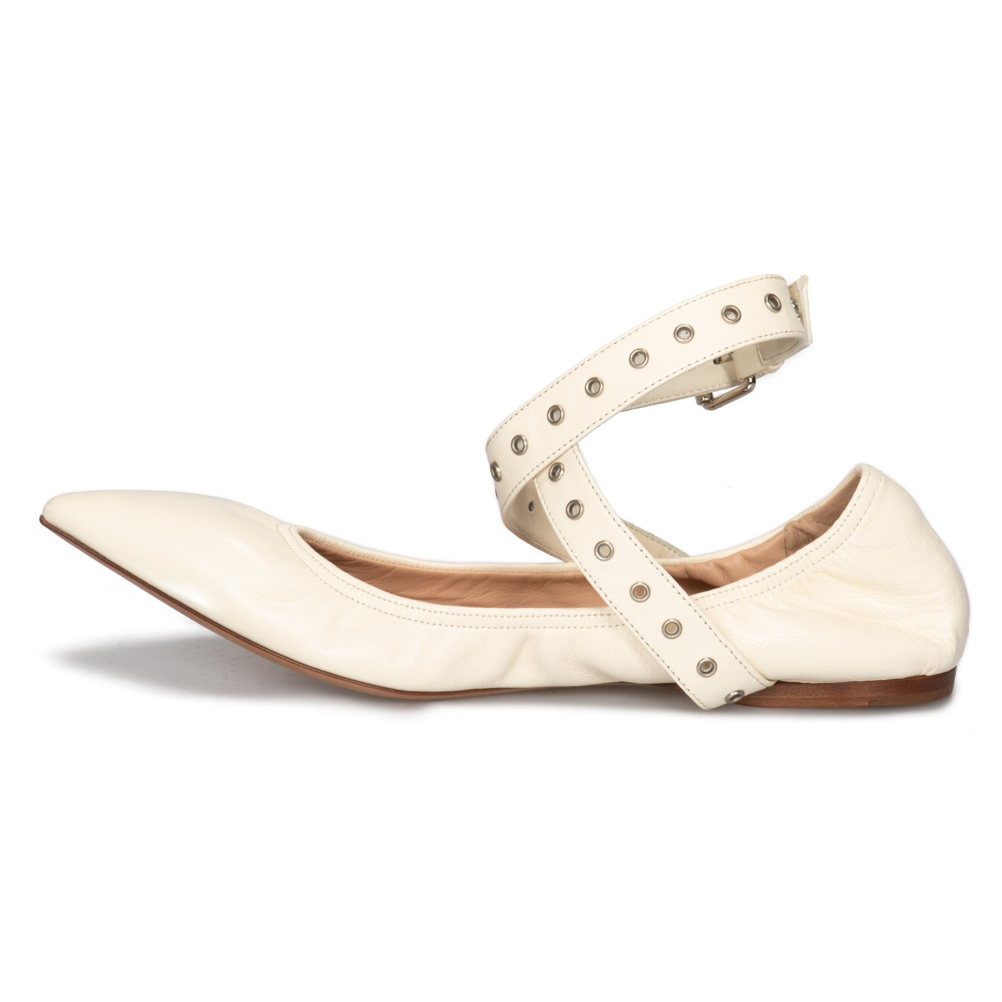 Valentino Love Latch Ballerina Flats in Off White