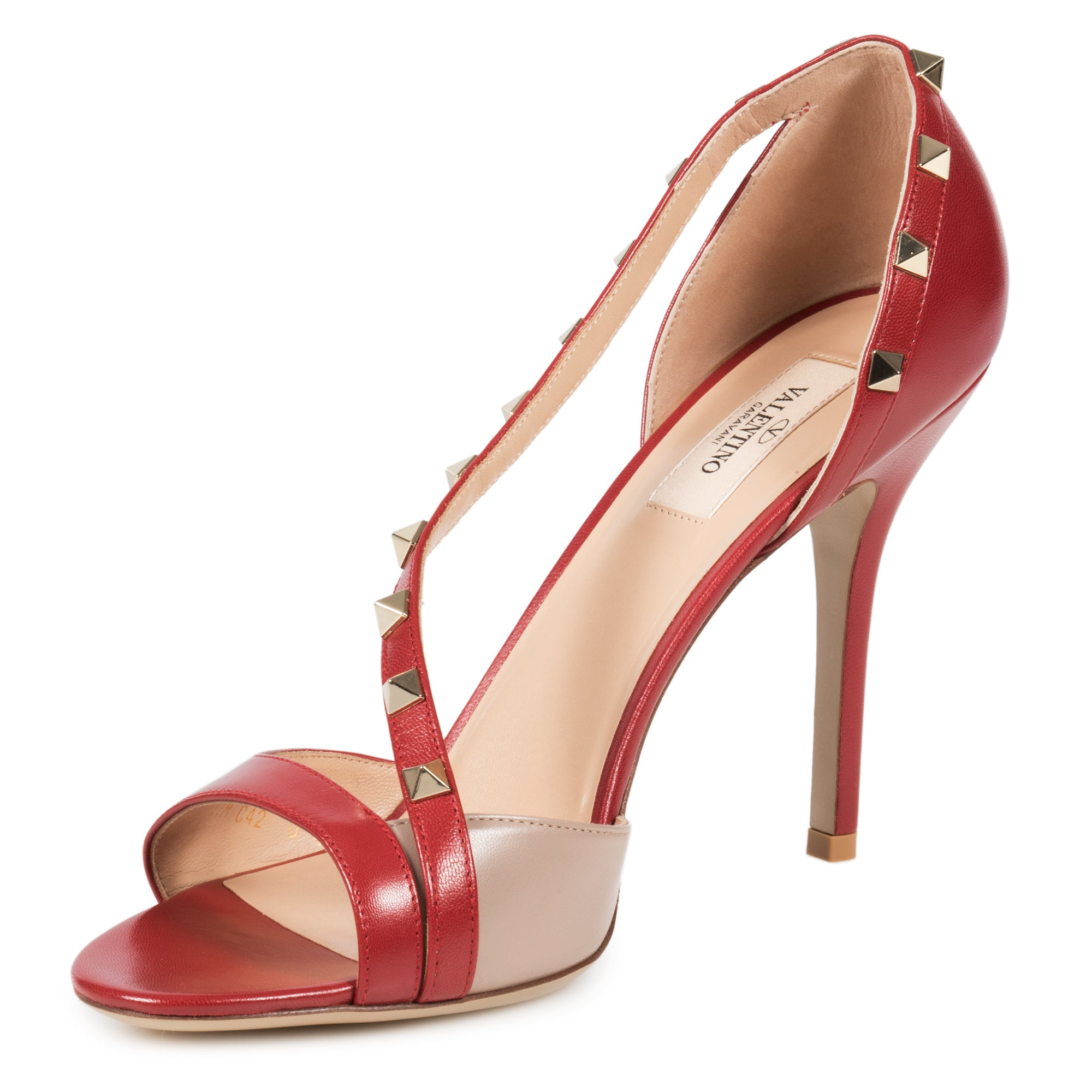 Valentino Rockstud Leather d'Orsay Peep Toe Pumps