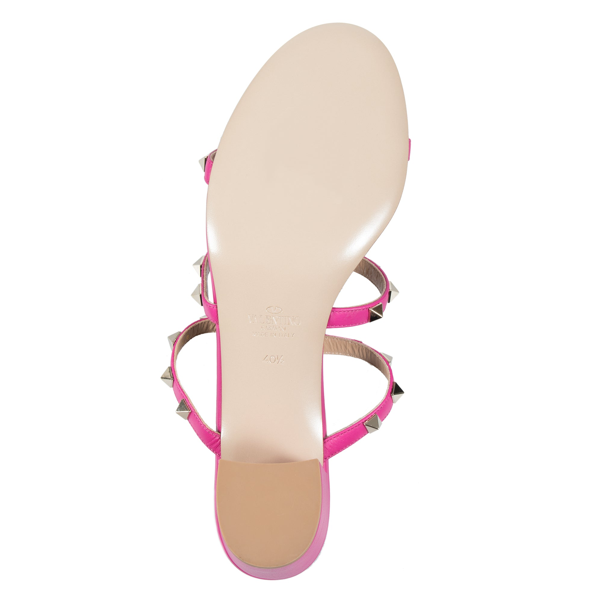 Valentino Rockstud Sandals in Bright Fuchsia
