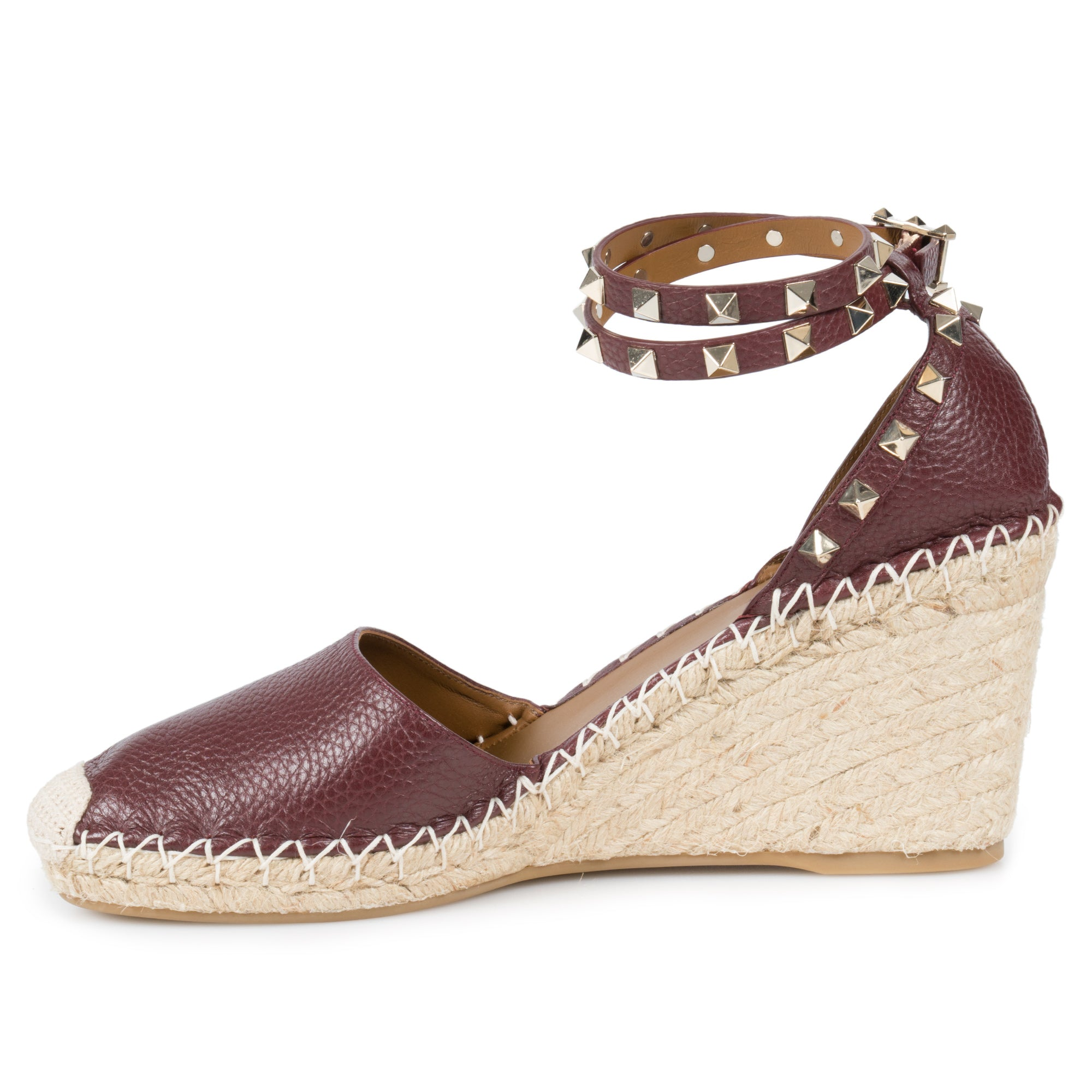 Valentino Brown Rockstud Espadrille Wedge