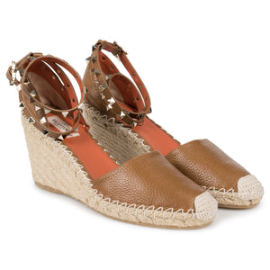 Valentino Light Brown Rockstud Espadrille Wedge