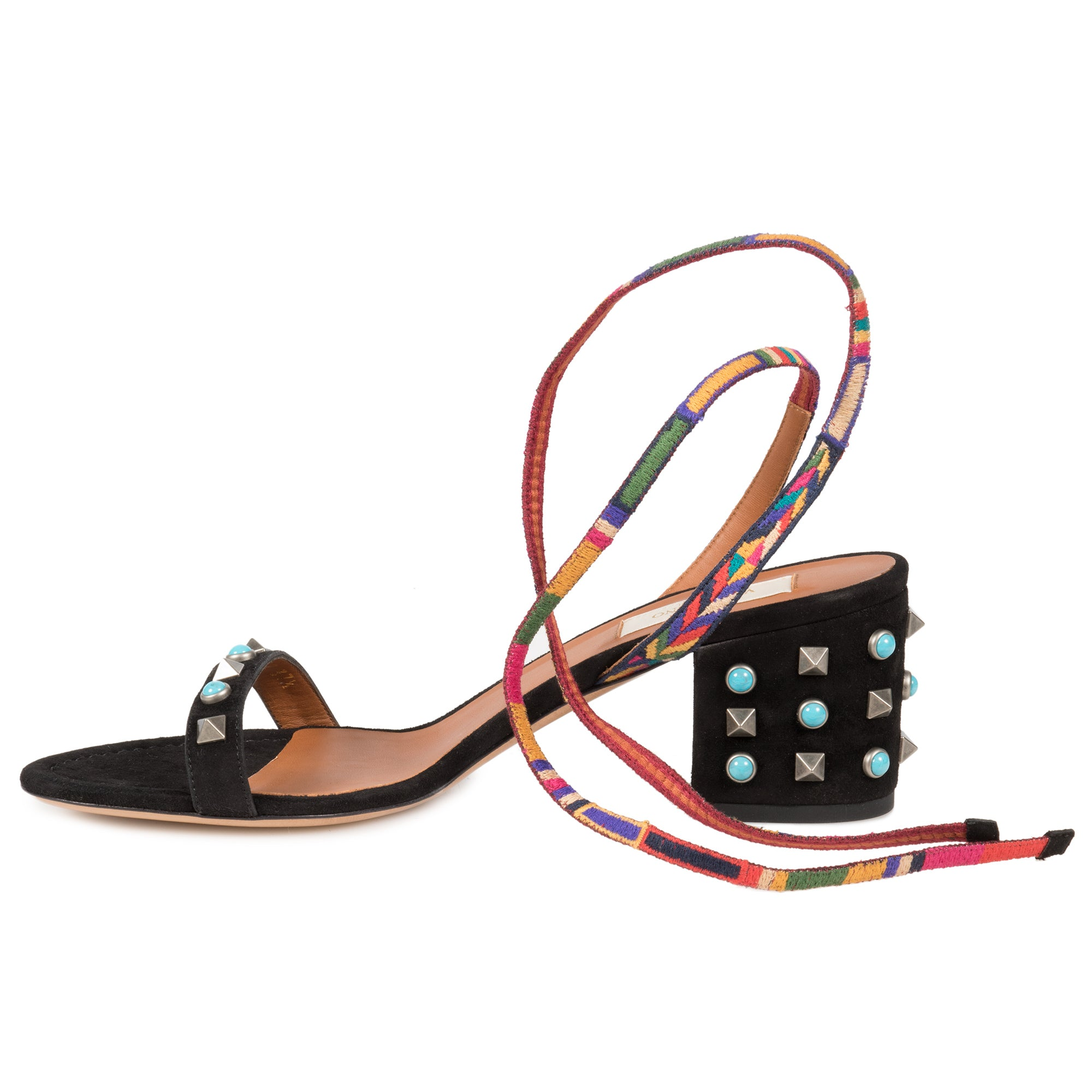 Valentino Black Suede Multicolored Rockstud Sandals