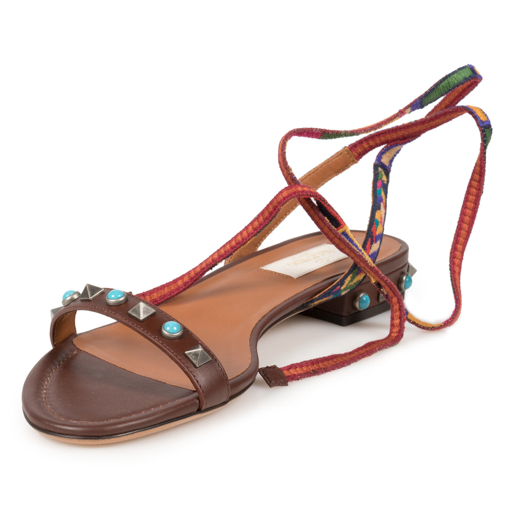 Valentino Light Brown Rockstud Rolling Sandals